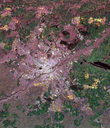 This spaceborne radar image of Munich, Germany illustrates the capability of a multi-frequency radar system to highlight different land use patterns in the area surrounding Bavaria's largest city.