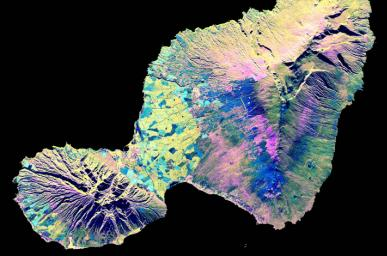 This spaceborne radar image shows the 'Valley Island' of Maui, Hawaii. The cloud-penetrating capabilities of radar provide a rare view of many parts of the island, since the higher elevations are frequently shrouded in clouds.