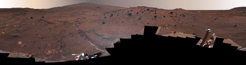 This 360-degree view, called the 'McMurdo' panorama, comes from the panoramic camera (Pancam) on NASA's Mars Exploration Rover Spirit.