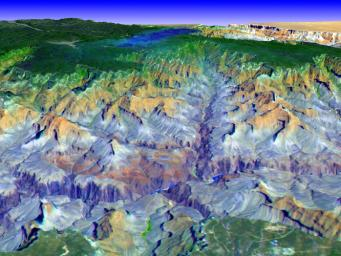 This simulated true color perspective view over the Grand Canyon is from data acquired on May 12, 2000 by NASA's Terra spacecraft.