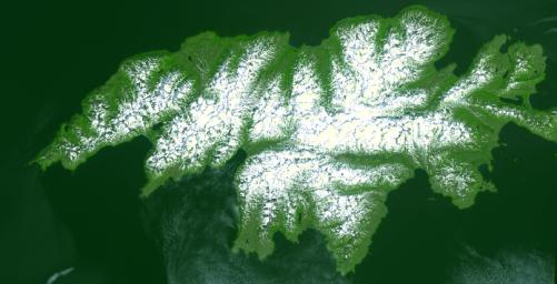 Attu, the westernmost Aleutian island, is nearly 1760 km from the Alaskan mainland and 1200 km northeast of the northernmost of the Japanese Kurile Islands. This image was acquired July 4, 2000 by NASA's Terra spacecraft.