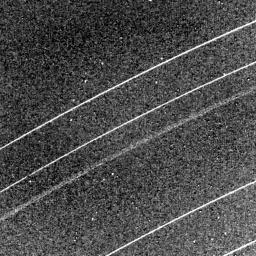 This NASA Voyager 2 image of the Uranian rings delta, gamma, eta, beta and alpha (from top) was taken Jan. 23, 1986.
