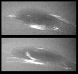 The bright cirrus-like clouds of Neptune change rapidly, often forming and dissipating over periods of several to tens of hours. In this sequence NASA's Voyager 2 observed cloud evolution in the region around the Great Dark Spot (GDS).