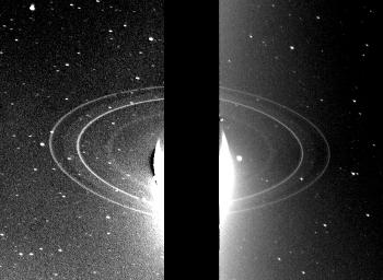 These two 591-second exposures of the rings of Neptune were taken with the clear filter by the NASA's Voyager 2 wide-angle camera on Aug. 26, 1989. The two main rings are clearly visible and appear complete over the region imaged.