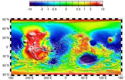 Map of Mars' Topography