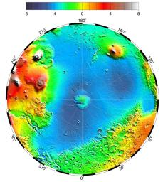 NASA's Mars Global Surveyor shows a pole-to-equator topography map in the northern hemisphere including the circular depression that is the Utopia Basin on Mars.