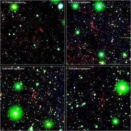 Like great friends, galaxies stick together. Astronomers using NASA's Spitzer Space Telescope have spotted a handful of great galactic pals bonding back when the universe was a mere 4.6 billion years old.