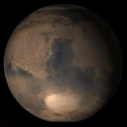 NASA's Mars Global Surveyor shows the Syrtis Major face of Mars.