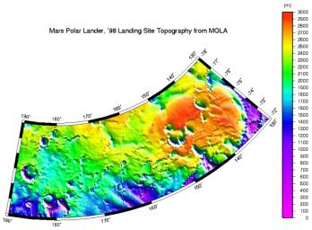 NASA's Mars Global Surveyor shows a digital elevation model of the Mars '98 Polar landing site corridor based on observations through the MGS Orbit Trim Maneuver-2 on June 10, 1999.