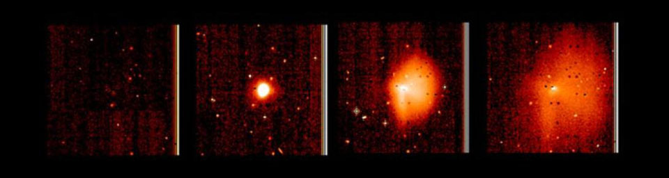 This display shows highly processed images of the outburst of comet Tempel 1 between June 22 and 23, 2005. The pictures were taken by NASA's Deep Impact's medium-resolution camera.