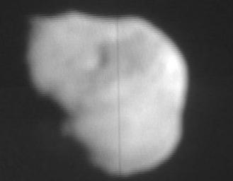This image from NASA TV shows the nucleus of comet Tempel 1 from Deep Impact's flyby's high-resolution imager.