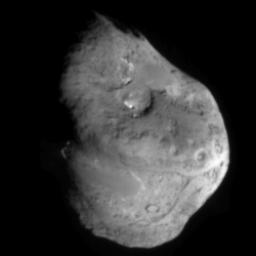 This image shows comet Tempel 1 approximately 5 minutes before NASA's Deep Impact's probe smashed into its surface. It was taken by the probe's impactor targeting sensor.