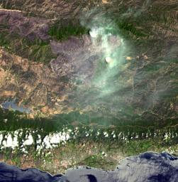 On August 7, 2007, the Zaca fire continued to burn in the Los Padres National Forest near Santa Barbara, California. This image is from NASA' Terra spacecraft.