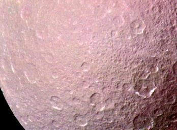 NASA's Voyager 1 took this high resolution color image of Rhea just before the spacecraft's closest approach to the Saturnian moon on Nov. 12, 1980 from a range of 128,000 kilometers (79,500 miles).