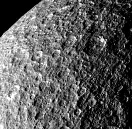 Rhea - Icy Cratered Surface