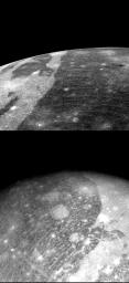 Two close-up photos of Ganymede, largest of Jupiter's 13 moons, were obtained on July 8 by NASA's Voyager 2 from 86,000 miles (top) and 192,000 miles.