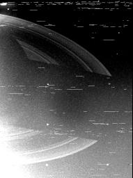 NASA's Voyager 2 returned this wide-angle, clear-filtered image of the shadow of Saturn upon the rings just after engineers at the Jet Propulsion Laboratory successfully commanded the camera platform to point to the planet.