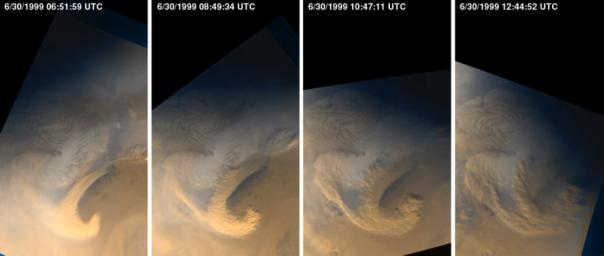 Late Summer Storms Over the Mars North Polar Region