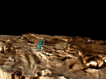 This three-dimensional perspective view of the Martian polar layered terrain was created by combining NASA's Viking images with NASA's Mars Global Surveyor Mars Orbiter Laser Altimeter measurements of the height of the surface.