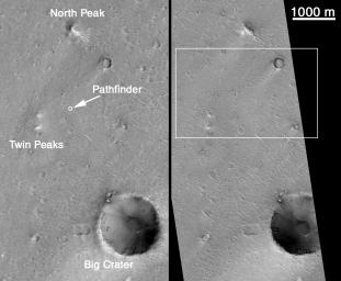 MOC's Highest Resolution View of Mars Pathfinder Landing Site