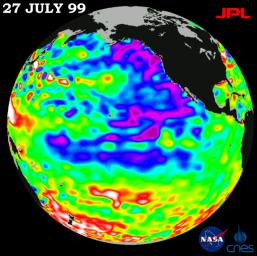 The North Pacific Ocean ran hot and cold, with abnormally low sea levels and cool waters in the northeastern Pacific contrasting with unusually high sea levels and warm waters in the northwestern Pacific shown by data from NASA's TOPEX/Poseidon satellite.