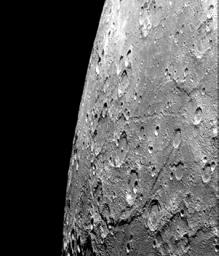 After passing Mercury the first time and making a trip around the Sun, NASA's Mariner 10 again flew by Mercury on Sept. 21, 1974. This encounter brought the spacecraft in front of Mercury in the southern hemisphere.