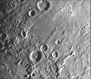 This image, from NASA's Mariner 10 spacecraft which launched in 1974, is of the northeastern quadrant of the Caloris basin and shows the smooth hills and domes between the inner and outer scarps and the well-developed radial system east of the outer scarp
