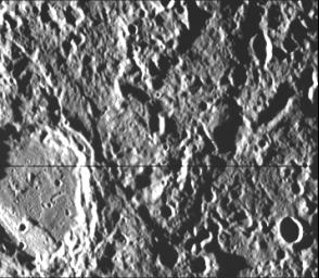 This image, from NASA's Mariner 10 spacecraft which launched in 1974, is a high-resolution picture of a 65-kilometer diameter crater and the scarp transecting its floor.