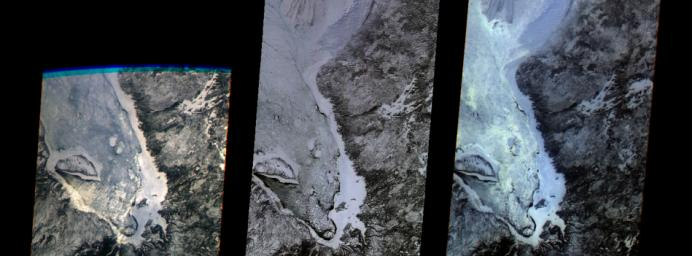 The first images taken by NASA's Multi-angle Imaging SpectroRadiometer (MISR) on February 24, 2000, show the winter landscape of James Bay, Ontario, Canada from three of the instrument's nine cameras.