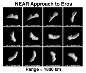 On Feb 12, 2000, two days before NASA's NEAR Shoemaker's insertion into orbit around Eros, during a five-hour time span the spacecraft recorded these pictures of the asteroid spinning on its axis. This view looks down toward the rocky body's north pole.