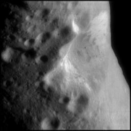 Oblique View of Eros' Crater