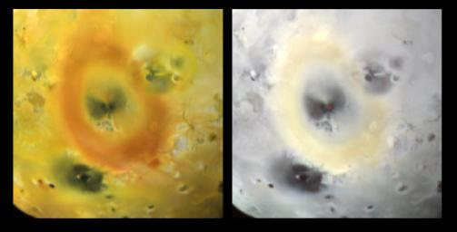 Brightly glowing lava from the volcano Pele is seen in this image taken by NASA's Galileo spacecraft as it receded from its close flyby of Jupiter's moon Io in October, 1999.