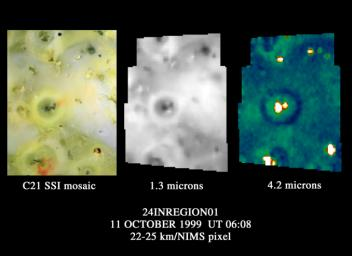This image shows the region around the Prometheus volcano on Jupiter's moon Io. It was observed by NASA's Galileo spacecraft in 1996 as it was flying away from a close approach to Io.