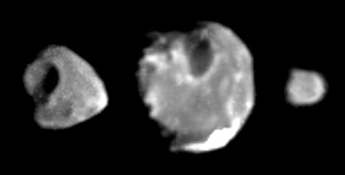 These images of the inner Jovian moons Thebe, Amalthea, and Metis (left to right), taken in January 2000 by the camera onboard NASA's Galileo spacecraft, are the highest-resolution images ever obtained of these small, irregularly shaped satellites.