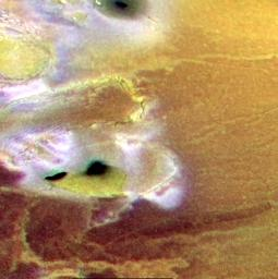 Terrain near Io's South Pole, in Color