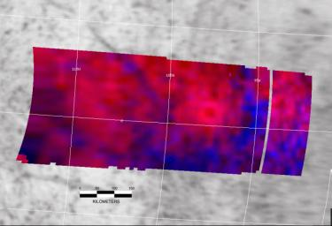 This false-color image reveals the scar of a past major impact of a comet or small asteroid on Europa's surface. A city-sized impact crater was viewed by NASA's Galileo spacecraft.
