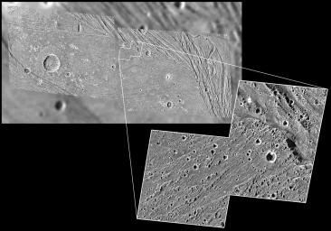 The highest-resolution images ever obtained of Jupiter's moon Ganymede show that even smooth-looking terrain has been deformed at a fine scale. The high-resolution image taken of the bright Harpagia Sulcus area by NASA's Galileo spacecraft during a flyby.