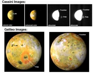 Two tall volcanic plumes and the rings of red material they have deposited onto surrounding surface areas appear in images taken of Jupiter's moon Io by NASA's Galileo and Cassini spacecraft in late December 2000 and early January 2001.