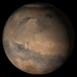 NASA's Mars Global Surveyor shows the Elysium/Mare Cimmerium face of Mars in mid-February 2006.