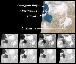 These images from NASA's Terra satellite are of the southeast portion of Georgian Bay in Ontario, Canada, acquired on March 6, 2000, during Terra orbit 1155.