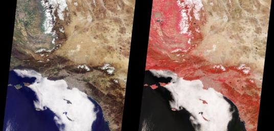 These images from NASA'sTerra satellite are of Southern California acquired on March 14, 2000 during Terra orbit 1273. North is at the top.