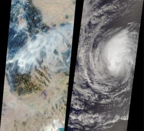 These images from NASA's Terra satellite captured on August 14, 2000 show forest fires raging in Montana and Hurricane Hector swirling in the Pacific.