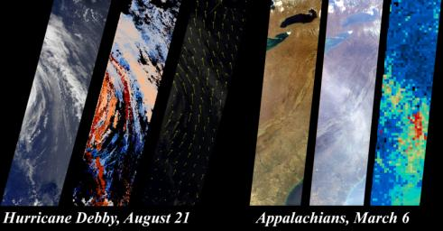 These images from NASA's Terra satellite were captured on August 21, 2000, during Terra orbit 3600, when MISR imaged Hurricane Debby in the Atlantic Ocean.