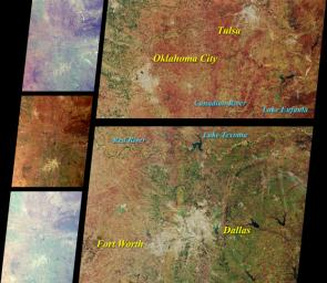 These images from NASA's Terra satellite images of Oklahoma and north Texas were acquired on March 12, 2000 during Terra orbit 1243.