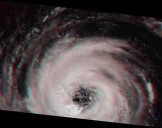This stereoimage of Hurricane Alberto on August 19, 2000 was acquired by NASA's Terra satellite. At this time, the storm was located in the North Atlantic Ocean, west of the Azores. 3D glasses are necessary to view this image.