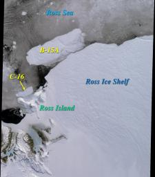Two large icebergs, designated B-15A and C-16, captured by NASA's Terra satellite, are of the Ross Ice Shelf and Ross Sea in Antarctica, acquired on December 10, 2000 during Terra orbit 5220, show