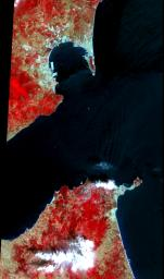 The Strait of Gibraltar separates Spain from Morocco. This image was acquired on July 5, 2000 by NASA's Terra satellite.