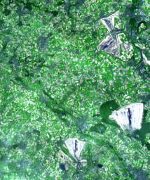 This simulated natural color image of the German state of North Rhine Westphalia is from NASA's Terra spacecraft covering an area of 30 by 36 km, and was acquired on August 26, 2000.