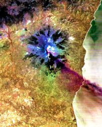 This image, acquired by NASA's Terra satellite on July 29, 2001 shows a sulfur dioxide plume (in purple) drifting over the city of Catania.