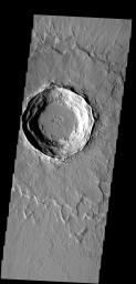 This crater has a layered ejecta blanket.